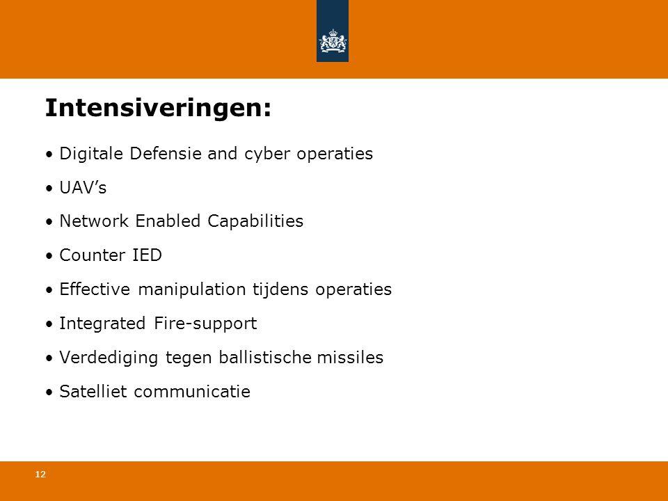12 Intensiveringen: • Digitale Defensie and cyber operaties • UAV's • Network Enabled Capabilities • Counter IED • Effective manipulation tijdens oper