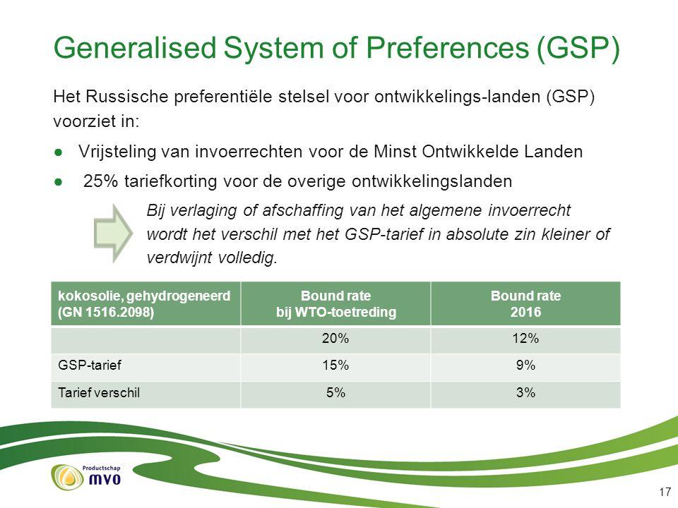 Generalised System of Preferences (GSP) Het Russische preferentiële stelsel voor ontwikkelings-landen (GSP) voorziet in: ●Vrijsteling van invoerrechte
