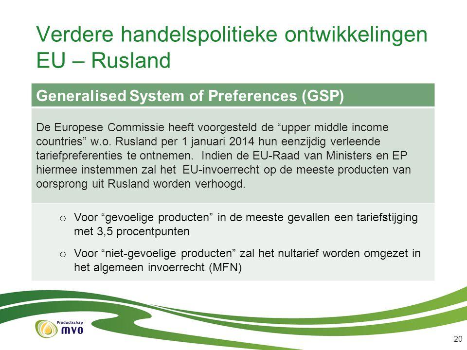 """Verdere handelspolitieke ontwikkelingen EU – Rusland Generalised System of Preferences (GSP) De Europese Commissie heeft voorgesteld de """"upper middle"""