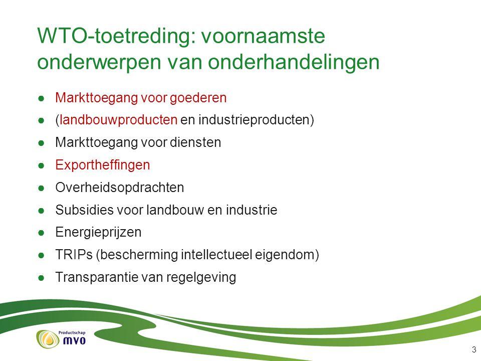 WTO-toetreding: voornaamste onderwerpen van onderhandelingen ●Markttoegang voor goederen ●(landbouwproducten en industrieproducten) ●Markttoegang voor