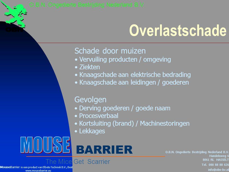 Overlastschade Schade door muizen • Vervuiling producten / omgeving • Ziekten • Knaagschade aan elektrische bedrading • Knaagschade aan leidingen / goederen O.B.N.