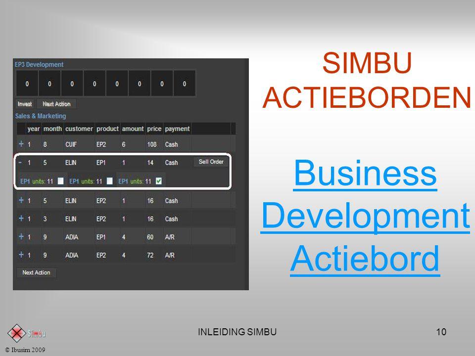 INLEIDING SIMBU9 SIMBU ACTIEBORDEN Productie Actiebord © Ibusim 2009