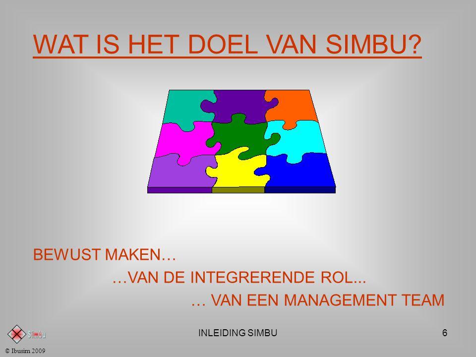INLEIDING SIMBU6 © Ibusim 2009 WAT IS HET DOEL VAN SIMBU.