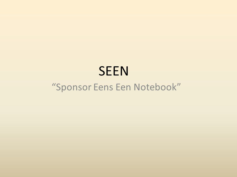 SEEN Sponsor Eens Een Notebook
