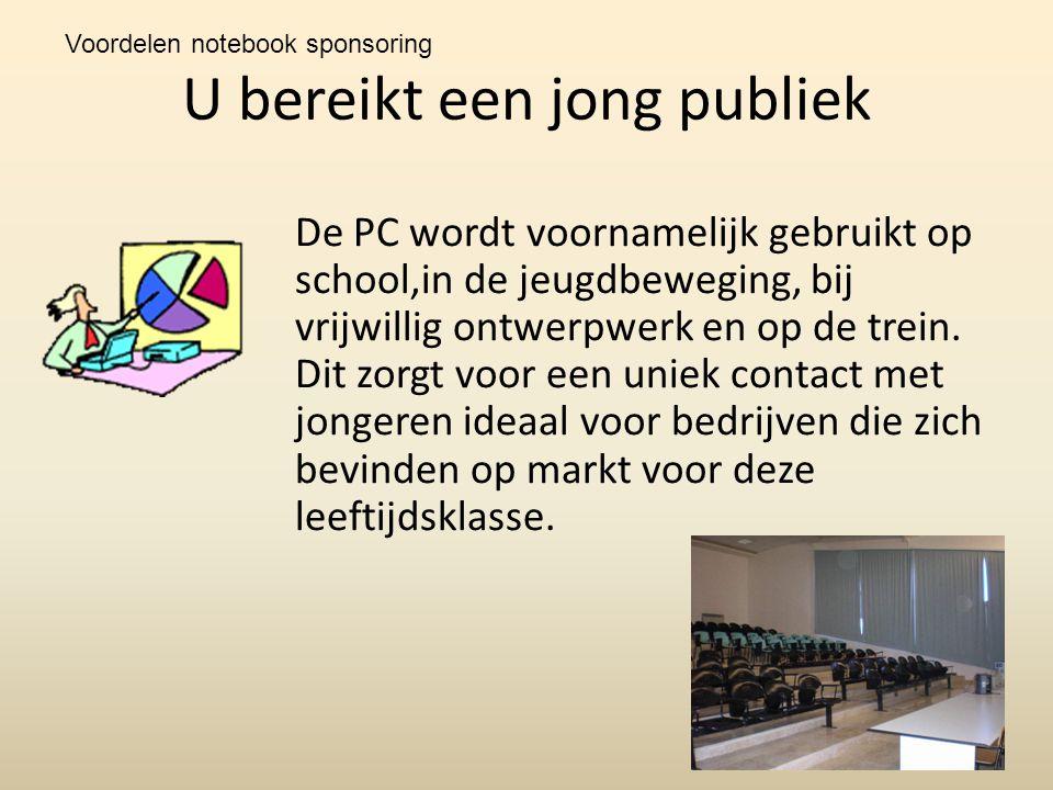 U bereikt een jong publiek De PC wordt voornamelijk gebruikt op school,in de jeugdbeweging, bij vrijwillig ontwerpwerk en op de trein.