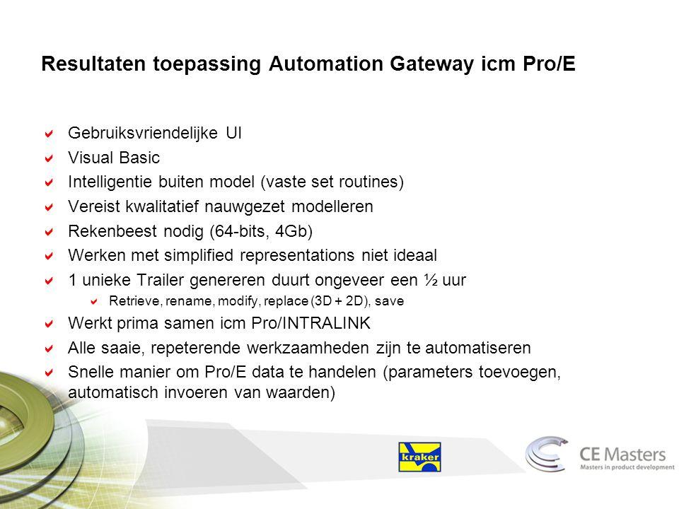 Resultaten toepassing Automation Gateway icm Pro/E  Gebruiksvriendelijke UI  Visual Basic  Intelligentie buiten model (vaste set routines)  Vereist kwalitatief nauwgezet modelleren  Rekenbeest nodig (64-bits, 4Gb)  Werken met simplified representations niet ideaal  1 unieke Trailer genereren duurt ongeveer een ½ uur  Retrieve, rename, modify, replace (3D + 2D), save  Werkt prima samen icm Pro/INTRALINK  Alle saaie, repeterende werkzaamheden zijn te automatiseren  Snelle manier om Pro/E data te handelen (parameters toevoegen, automatisch invoeren van waarden)