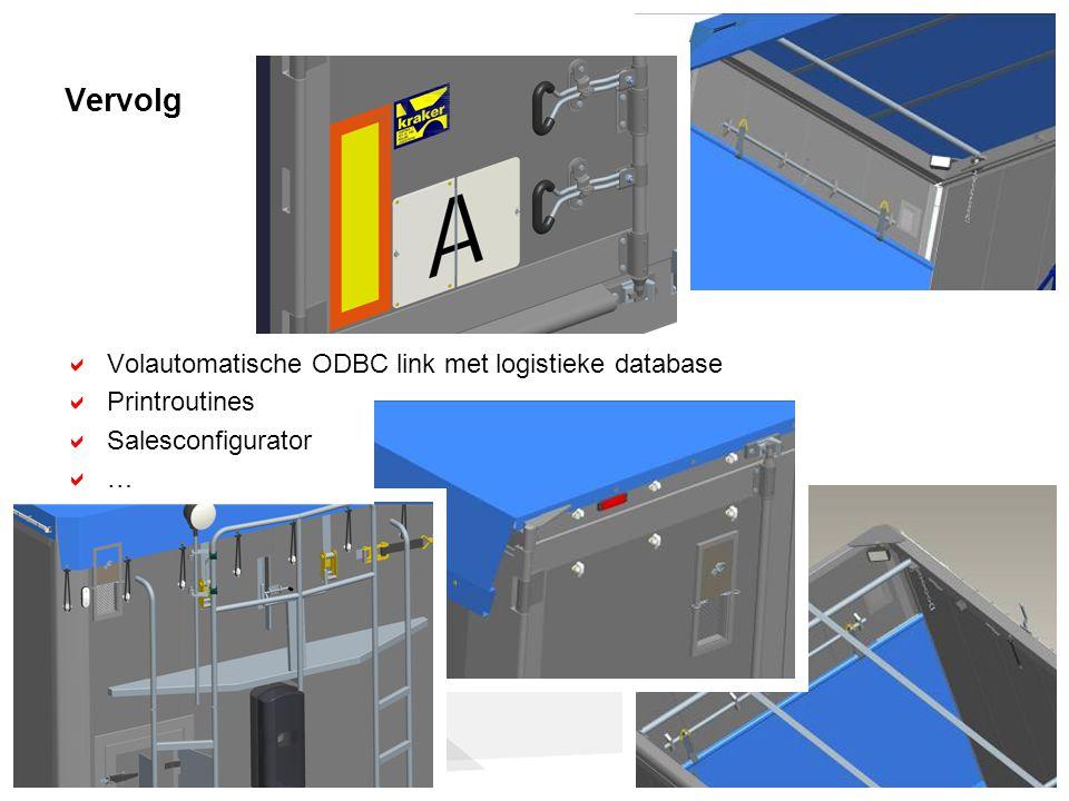 Vervolg  Volautomatische ODBC link met logistieke database  Printroutines  Salesconfigurator ……