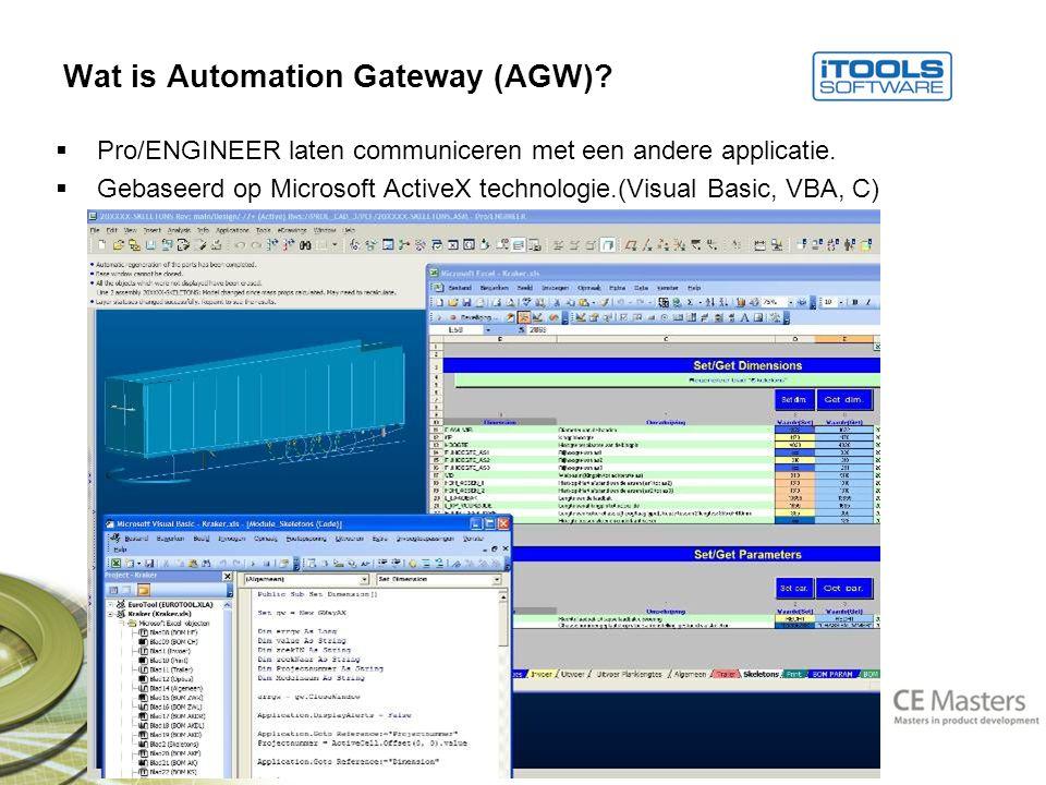 Wat is Automation Gateway (AGW).  Pro/ENGINEER laten communiceren met een andere applicatie.