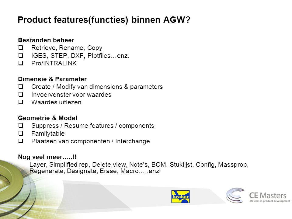 Product features(functies) binnen AGW.