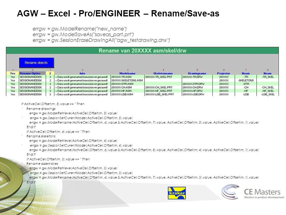 AGW – Excel - Pro/ENGINEER – Rename/Save-as errgw = gw.ModelRename(