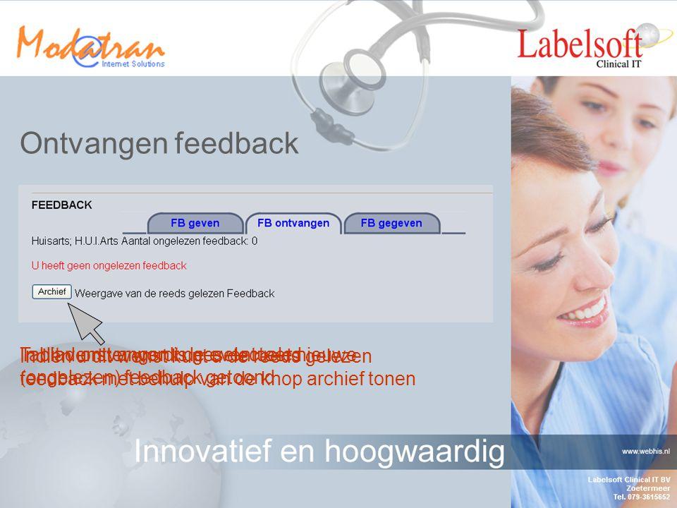 Feedback invoeren Voer hier uw feedback in (max 128 letters) Hier kunt u de ICPC codering selecteren indien deze naar uw mening onjuist in de casus is weergegeven Bevestig de ingevoerde feedbackSelecteer cancel indien u wilt annuleren Hier komt de feedback