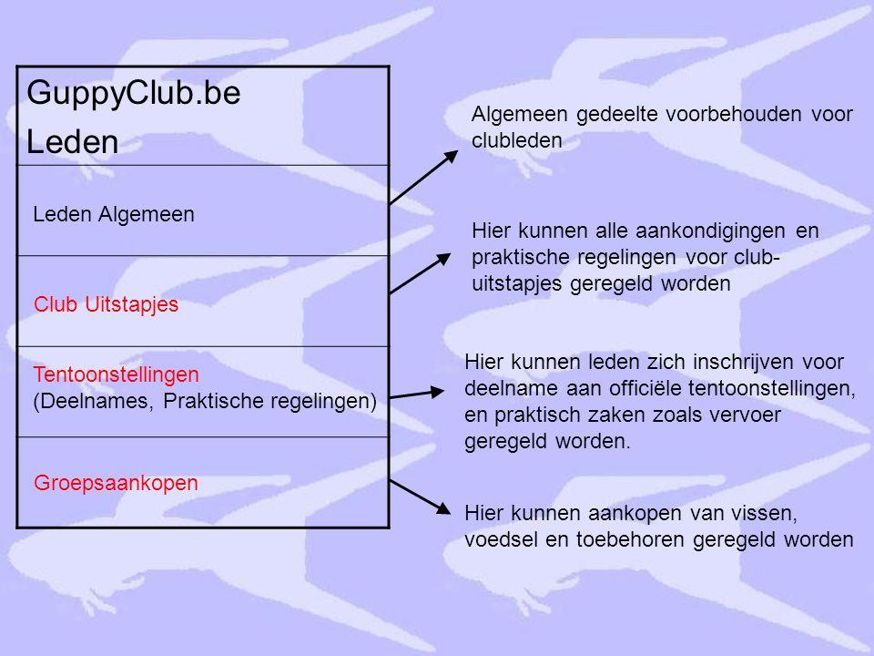 GuppyClub.be Leden Leden Algemeen Club Uitstapjes Groepsaankopen Tentoonstellingen (Deelnames, Praktische regelingen) Algemeen gedeelte voorbehouden v