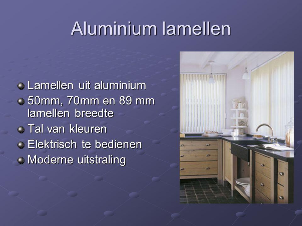 Aluminium lamellen Lamellen uit aluminium 50mm, 70mm en 89 mm lamellen breedte Tal van kleuren Elektrisch te bedienen Moderne uitstraling