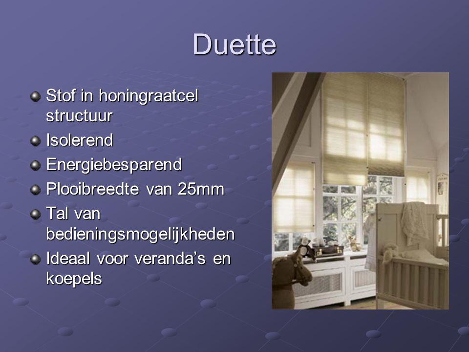 Duette Stof in honingraatcel structuur IsolerendEnergiebesparend Plooibreedte van 25mm Tal van bedieningsmogelijkheden Ideaal voor veranda's en koepels