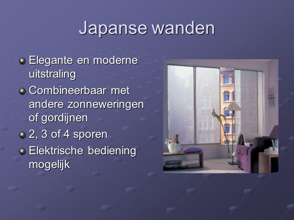 Japanse wanden Elegante en moderne uitstraling Combineerbaar met andere zonneweringen of gordijnen 2, 3 of 4 sporen Elektrische bediening mogelijk
