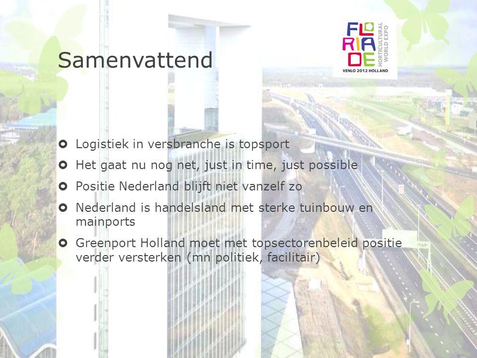 Samenvattend  Logistiek in versbranche is topsport  Het gaat nu nog net, just in time, just possible  Positie Nederland blijft niet vanzelf zo  Ne
