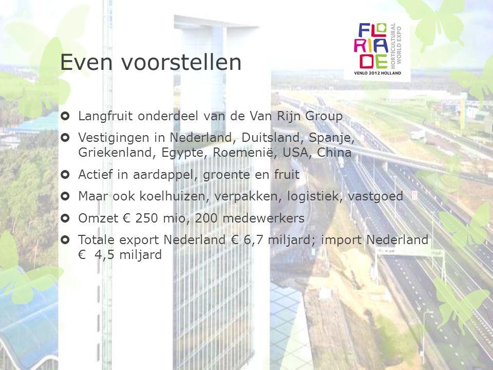 Even voorstellen  Langfruit onderdeel van de Van Rijn Group  Vestigingen in Nederland, Duitsland, Spanje, Griekenland, Egypte, Roemenië, USA, China  Actief in aardappel, groente en fruit  Maar ook koelhuizen, verpakken, logistiek, vastgoed  Omzet € 250 mio, 200 medewerkers  Totale export Nederland € 6,7 miljard; import Nederland € 4,5 miljard