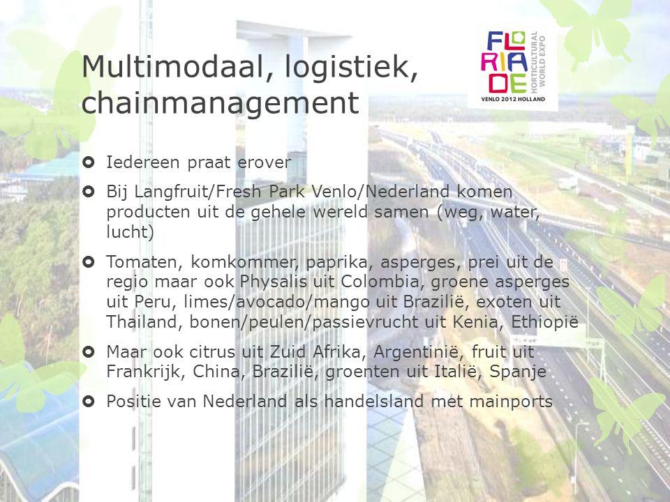 Positie nederland  Multimodaal inkomend moet en kan om Nederlandse wegen te ontlasten  Multimodaal uitgaand moeilijk (trein Italië)  Local for local  Eten wat seizoen biedt  Europese distributiepunten/netwerk .