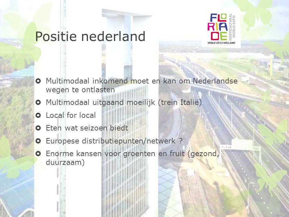 Positie nederland  Multimodaal inkomend moet en kan om Nederlandse wegen te ontlasten  Multimodaal uitgaand moeilijk (trein Italië)  Local for loca