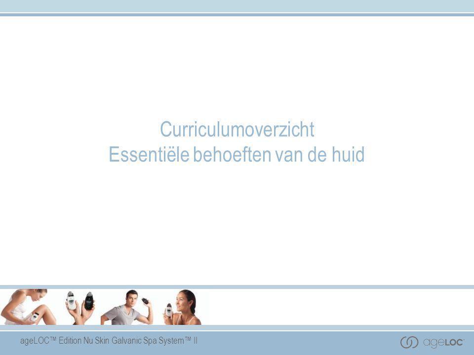 ageLOC™ Edition Nu Skin Galvanic Spa System™ II Curriculumoverzicht Essentiële behoeften van de huid