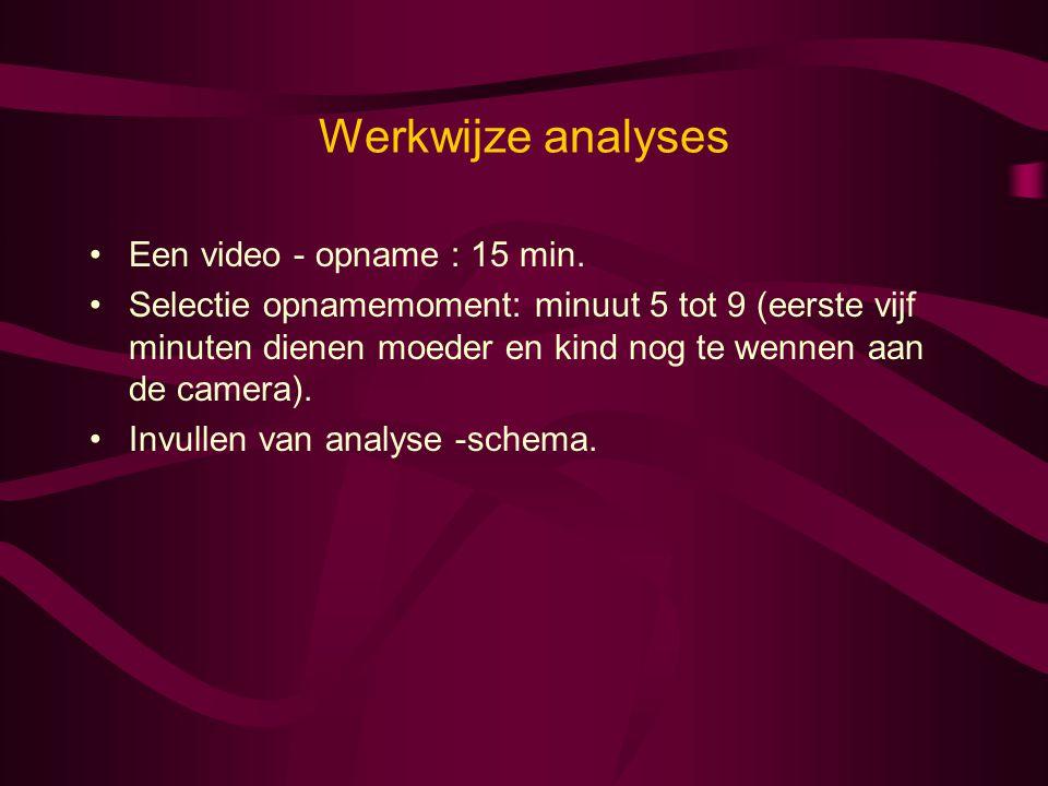 Werkwijze analyses •Een video - opname : 15 min. •Selectie opnamemoment: minuut 5 tot 9 (eerste vijf minuten dienen moeder en kind nog te wennen aan d