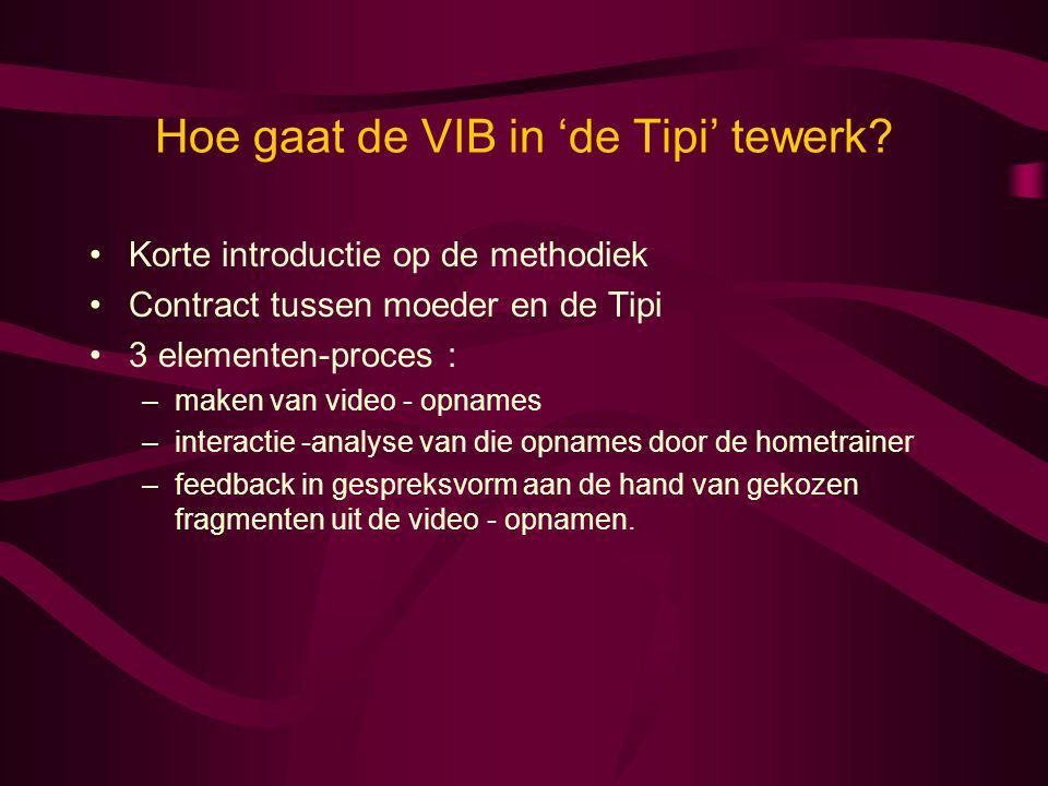 Hoe gaat de VIB in 'de Tipi' tewerk? •Korte introductie op de methodiek •Contract tussen moeder en de Tipi •3 elementen-proces : –maken van video - op
