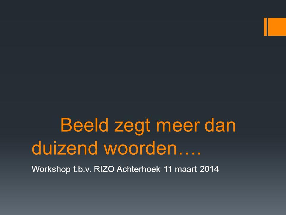 Beeld zegt meer dan duizend woorden…. Workshop t.b.v. RIZO Achterhoek 11 maart 2014