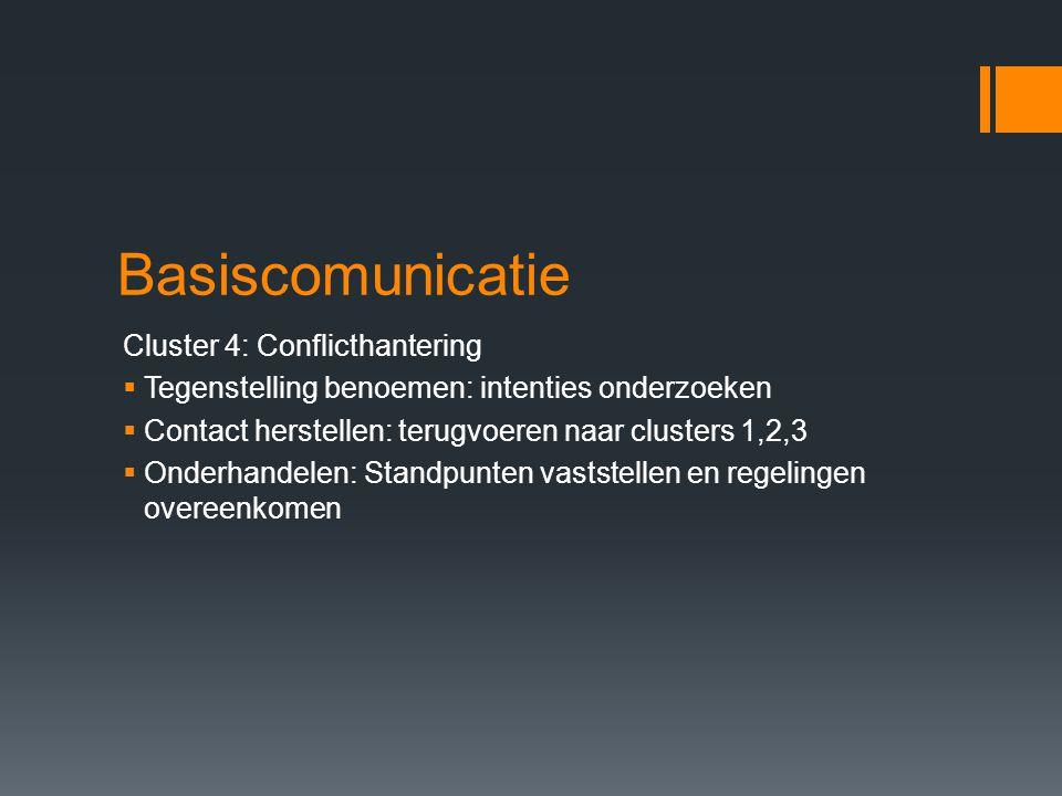 Basiscomunicatie Cluster 4: Conflicthantering  Tegenstelling benoemen: intenties onderzoeken  Contact herstellen: terugvoeren naar clusters 1,2,3 