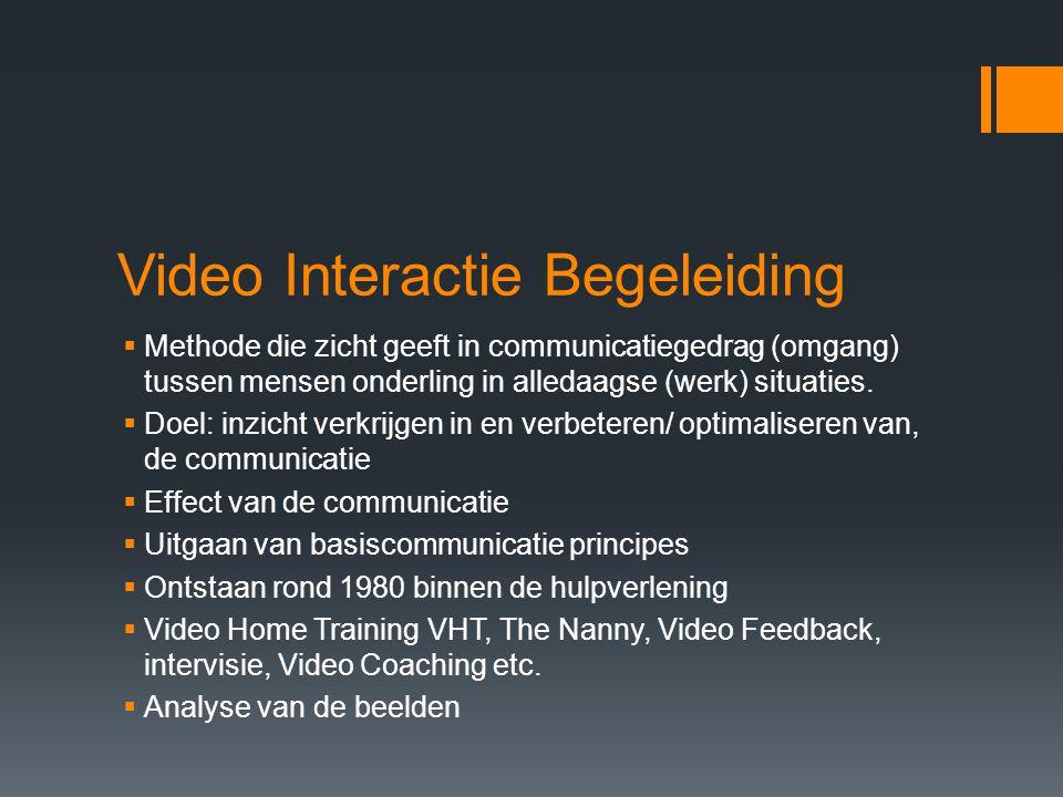 Video Interactie Begeleiding  Methode die zicht geeft in communicatiegedrag (omgang) tussen mensen onderling in alledaagse (werk) situaties.  Doel: