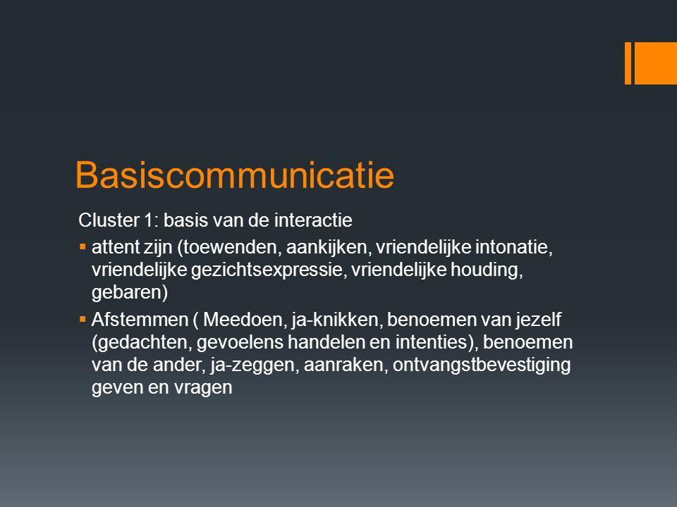 Basiscommunicatie Cluster 2:Uitwisseling in de kring  Kring vormen: in de kring betrekken, rondkijken, ontvangstbevestiging geven  Beurten maken: beurt geven, gelijke beurtverdeling, beurten doorgeven  Coöperatie: samen handelen, elkaar helpen, fysiek ondersteunen.