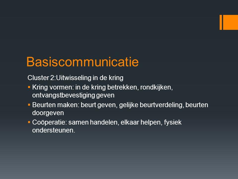 Basiscommunicatie Cluster 2:Uitwisseling in de kring  Kring vormen: in de kring betrekken, rondkijken, ontvangstbevestiging geven  Beurten maken: be