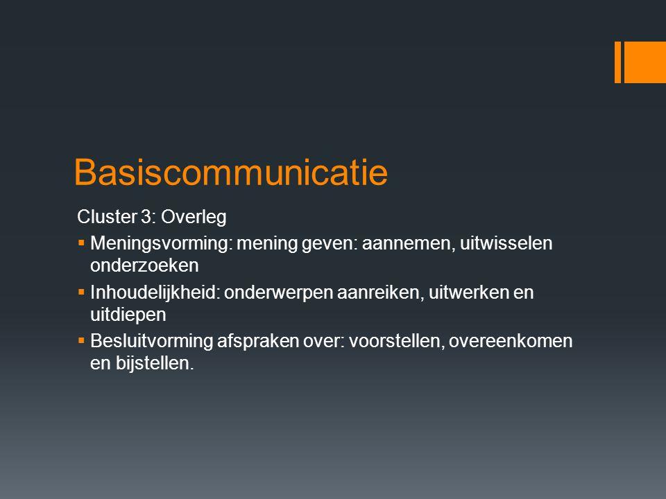 Basiscomunicatie Cluster 4: Conflicthantering  Tegenstelling benoemen: intenties onderzoeken  Contact herstellen: terugvoeren naar clusters 1,2,3  Onderhandelen: Standpunten vaststellen en regelingen overeenkomen