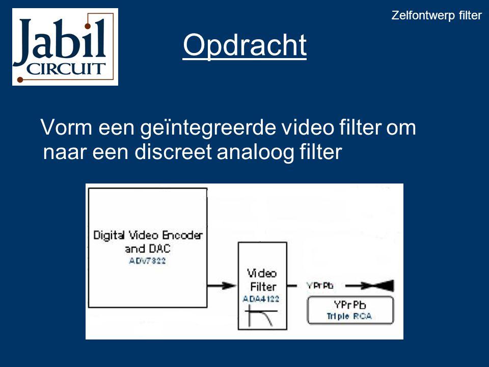 Opdracht Vorm een geïntegreerde video filter om naar een discreet analoog filter Zelfontwerp filter