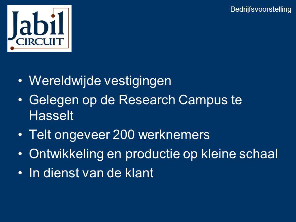 •Wereldwijde vestigingen •Gelegen op de Research Campus te Hasselt •Telt ongeveer 200 werknemers •Ontwikkeling en productie op kleine schaal •In dienst van de klant Bedrijfsvoorstelling