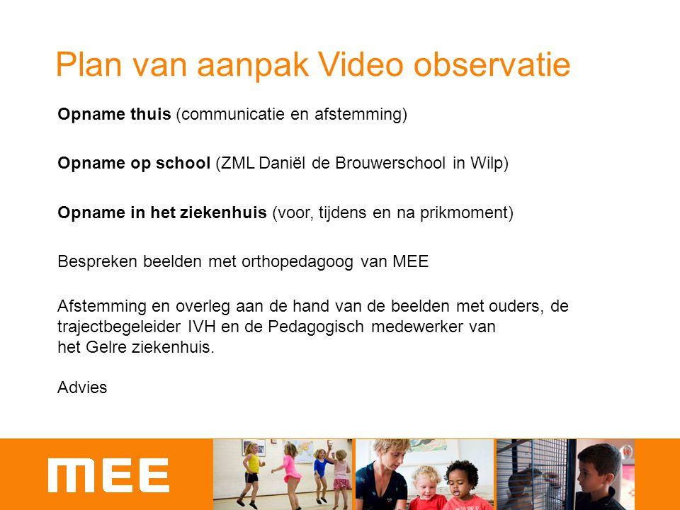 Plan van aanpak Video observatie Opname thuis (communicatie en afstemming) Opname op school (ZML Daniël de Brouwerschool in Wilp) Opname in het zieken