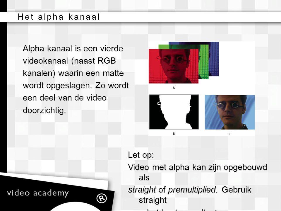 Alpha kanaal is een vierde videokanaal (naast RGB kanalen) waarin een matte wordt opgeslagen. Zo wordt een deel van de video doorzichtig. Let op: Vide