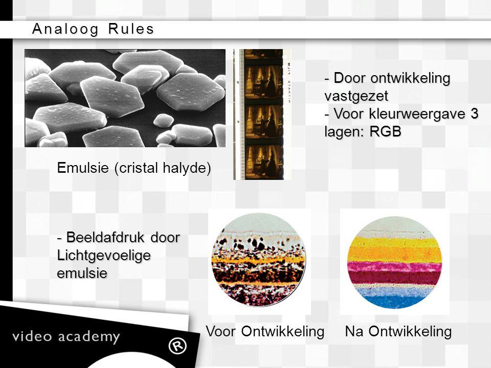 Analoog Rules Na OntwikkelingVoor Ontwikkeling Emulsie (cristal halyde) - Door ontwikkeling vastgezet - Voor kleurweergave 3 lagen: RGB - Beeldafdruk