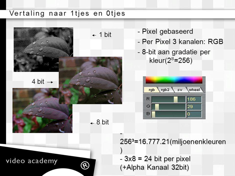 Vertaling naar 1tjes en 0tjes - Pixel gebaseerd - Per Pixel 3 kanalen: RGB - 8-bit aan gradatie per kleur(2 ⁸ =256) 1 bit 4 bit 8 bit - 256³=16.777.21
