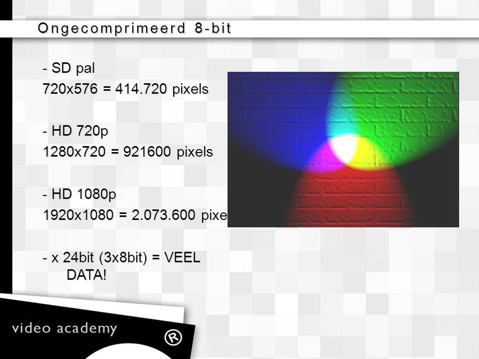 Ongecomprimeerd 8-bit - SD pal 720x576 = 414.720 pixels - HD 720p 1280x720 = 921600 pixels - HD 1080p 1920x1080 = 2.073.600 pixels - x 24bit (3x8bit)