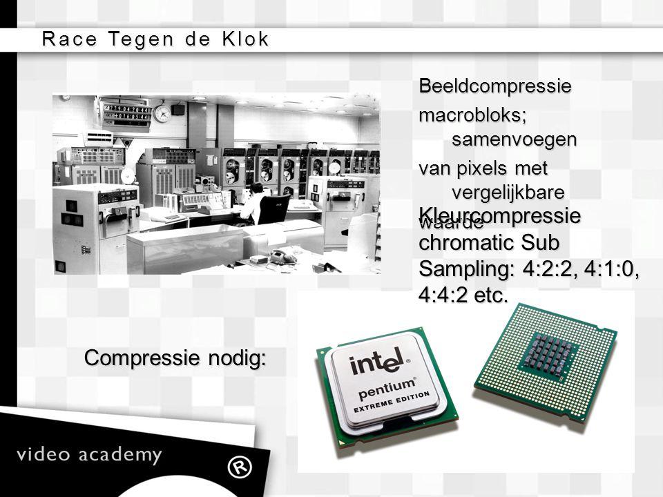Race Tegen de Klok Beeldcompressie macrobloks; samenvoegen van pixels met vergelijkbare waarde Kleurcompressie chromatic Sub Sampling: 4:2:2, 4:1:0, 4