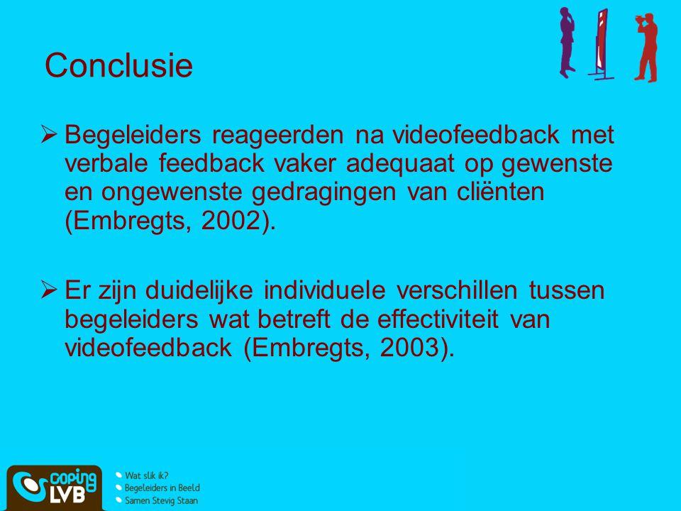 Conclusie  Begeleiders reageerden na videofeedback met verbale feedback vaker adequaat op gewenste en ongewenste gedragingen van cliënten (Embregts,