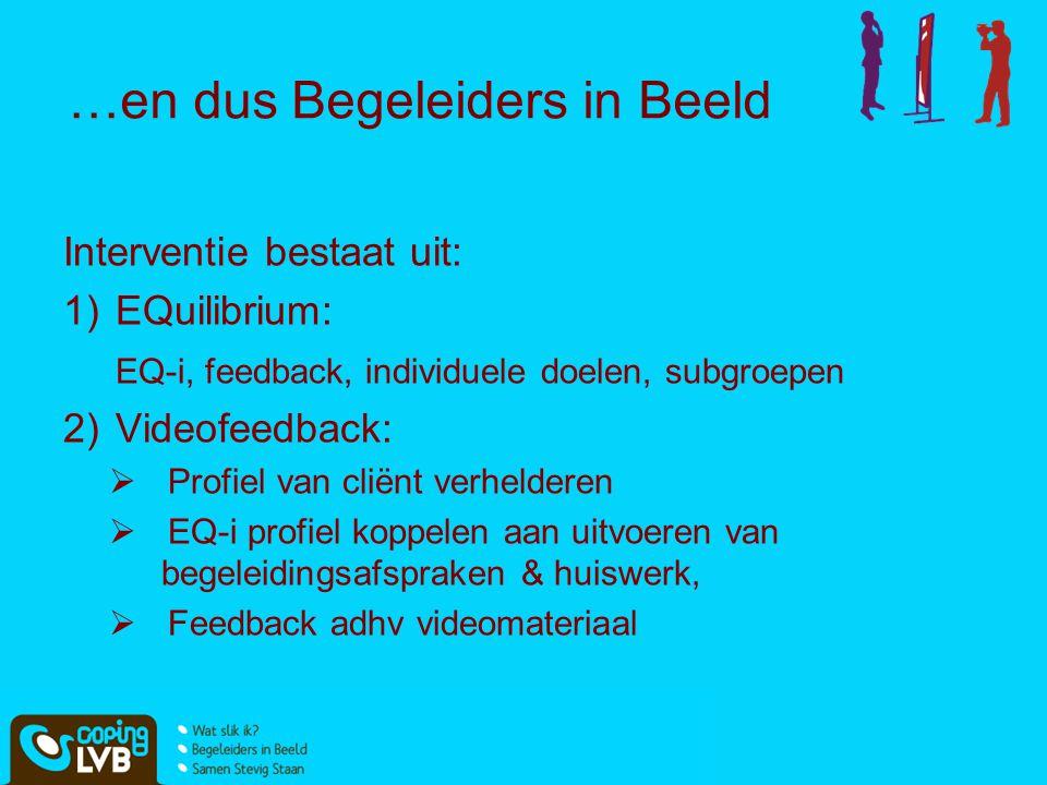 …en dus Begeleiders in Beeld Interventie bestaat uit: 1)EQuilibrium: EQ-i, feedback, individuele doelen, subgroepen 2)Videofeedback:  Profiel van cli