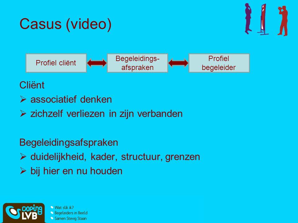 Casus (video) Cliënt  associatief denken  zichzelf verliezen in zijn verbanden Begeleidingsafspraken  duidelijkheid, kader, structuur, grenzen  bi