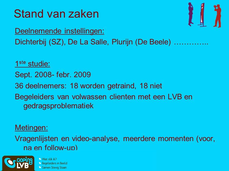 Deelnemende instellingen: Dichterbij (SZ), De La Salle, Plurijn (De Beele) ………….. 1 ste studie: Sept. 2008- febr. 2009 36 deelnemers: 18 worden getrai