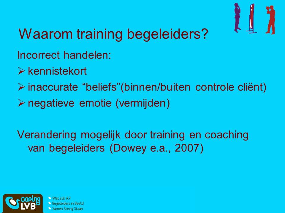 """Waarom training begeleiders? Incorrect handelen:  kennistekort  inaccurate """"beliefs""""(binnen/buiten controle cliënt)  negatieve emotie (vermijden) V"""