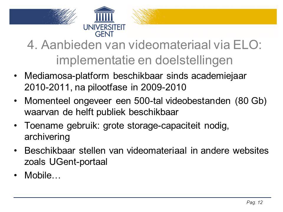 Pag. 12 4. Aanbieden van videomateriaal via ELO: implementatie en doelstellingen •Mediamosa-platform beschikbaar sinds academiejaar 2010-2011, na pilo