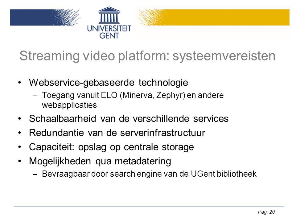 Pag. 20 Streaming video platform: systeemvereisten •Webservice-gebaseerde technologie –Toegang vanuit ELO (Minerva, Zephyr) en andere webapplicaties •