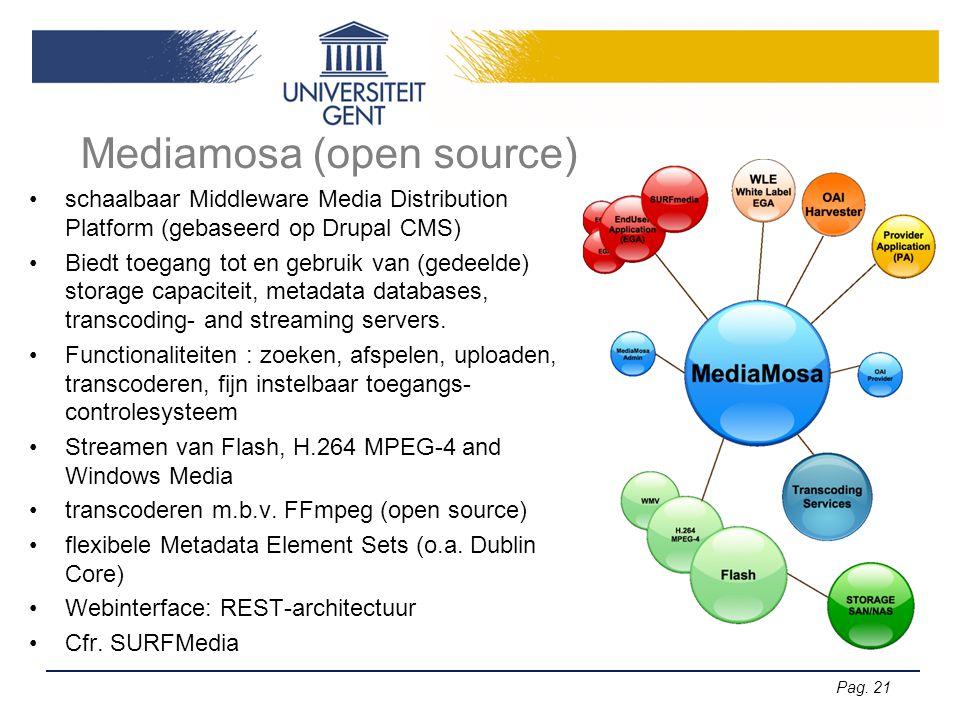 Pag. 21 Mediamosa (open source) •schaalbaar Middleware Media Distribution Platform (gebaseerd op Drupal CMS) •Biedt toegang tot en gebruik van (gedeel