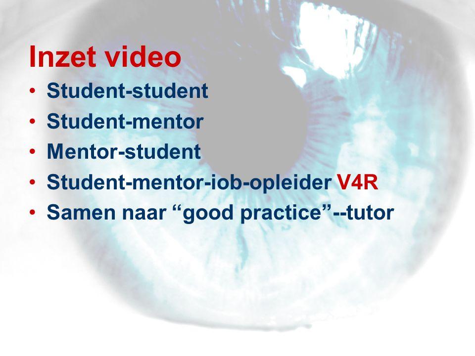 Inzet video •Student-student •Student-mentor •Mentor-student •Student-mentor-iob-opleider V4R •Samen naar good practice --tutor