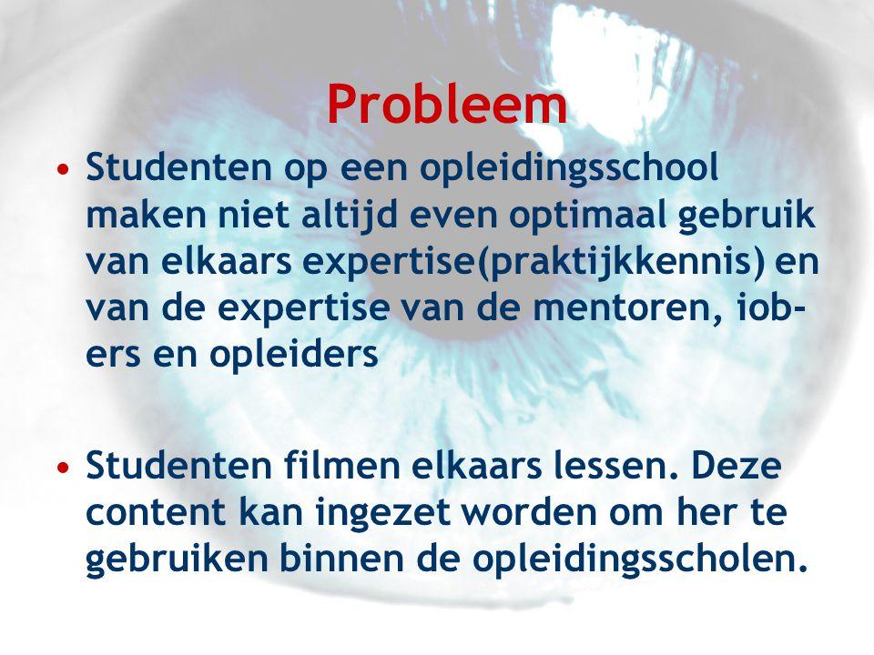 Probleem •Studenten op een opleidingsschool maken niet altijd even optimaal gebruik van elkaars expertise(praktijkkennis) en van de expertise van de mentoren, iob- ers en opleiders •Studenten filmen elkaars lessen.